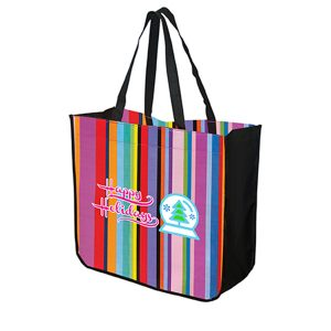 TO4815 Large Multi-Stripe Recycled Tote