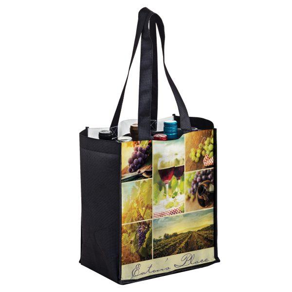 SUBVINE6 Dye Sublimation PET Non Woven Sublimated 6 Bottle Wine Bag