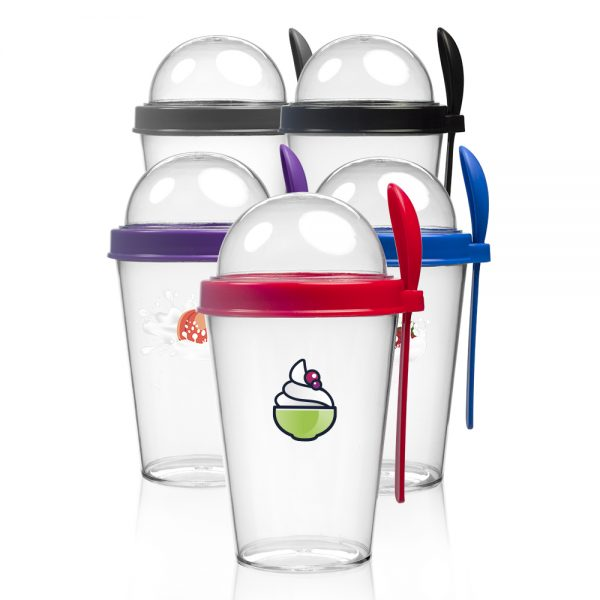14 oz. Snack-To-Go Cups with Lid and Spoon APG246